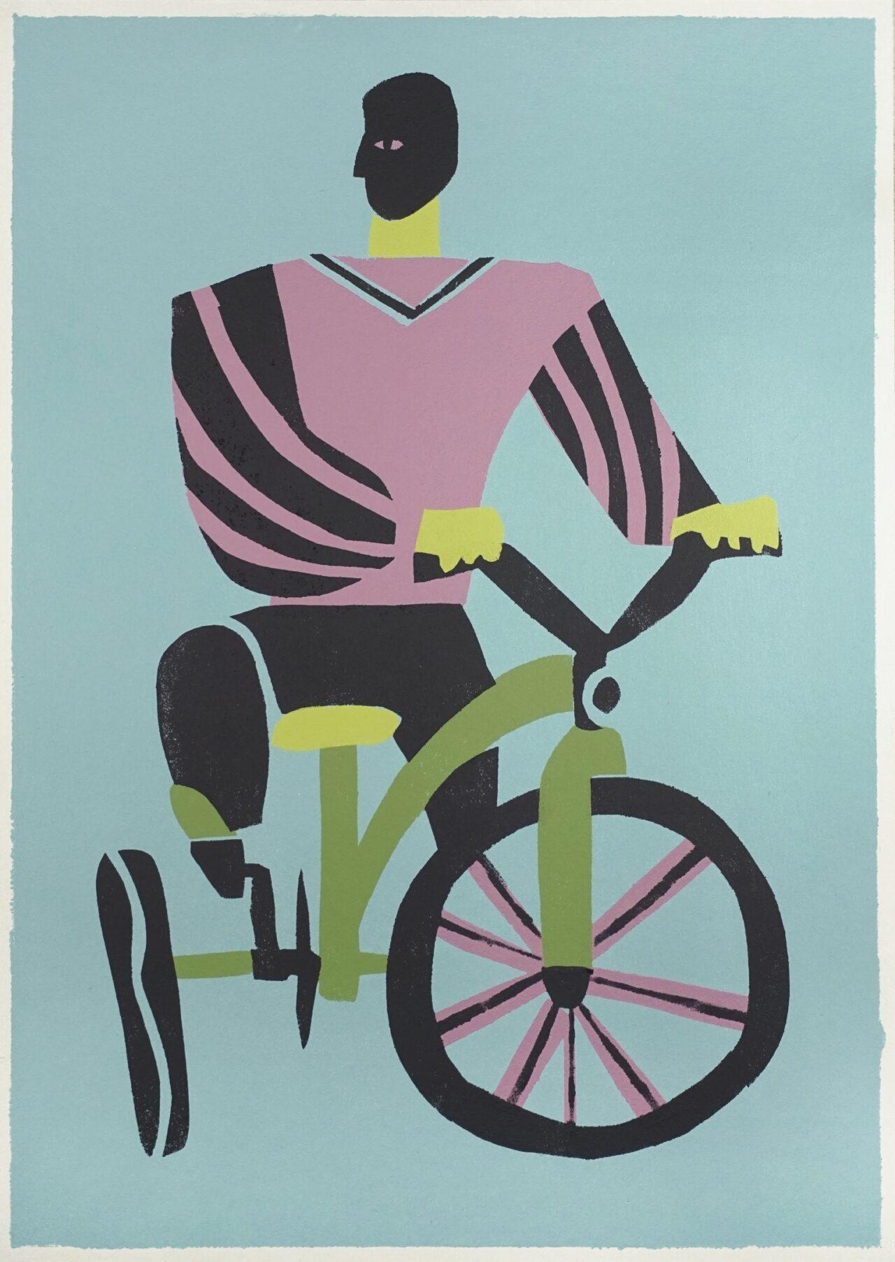 Александр Бирук. Велосипед. 2020. Бумага, акрил, техника ручной трафаретной печати. 30 х 42 см.