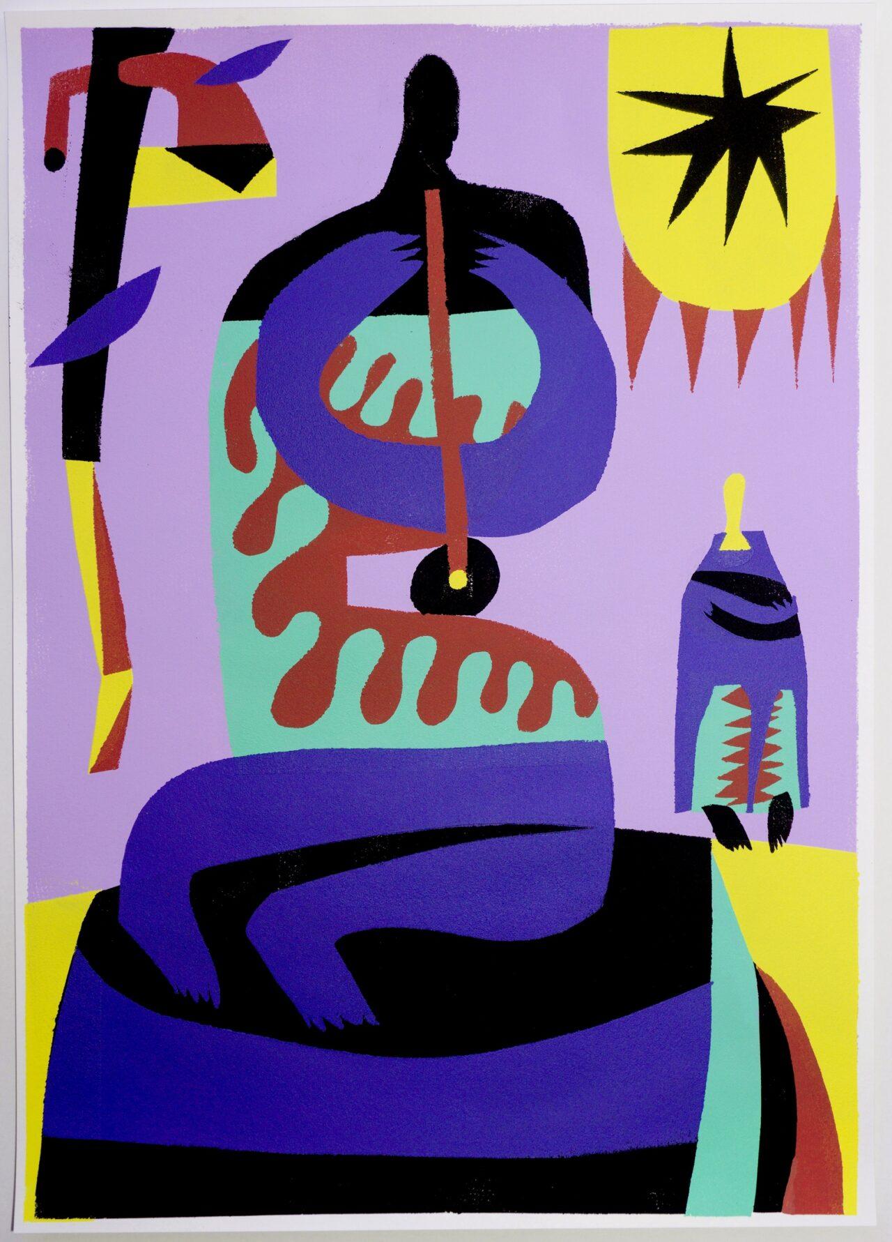 Александр Бирук. Пришел послушать одинокого музыканта-отшельника. 2020. Бумага, акрил, техника ручной трафаретной печати. 30 х 42 см.