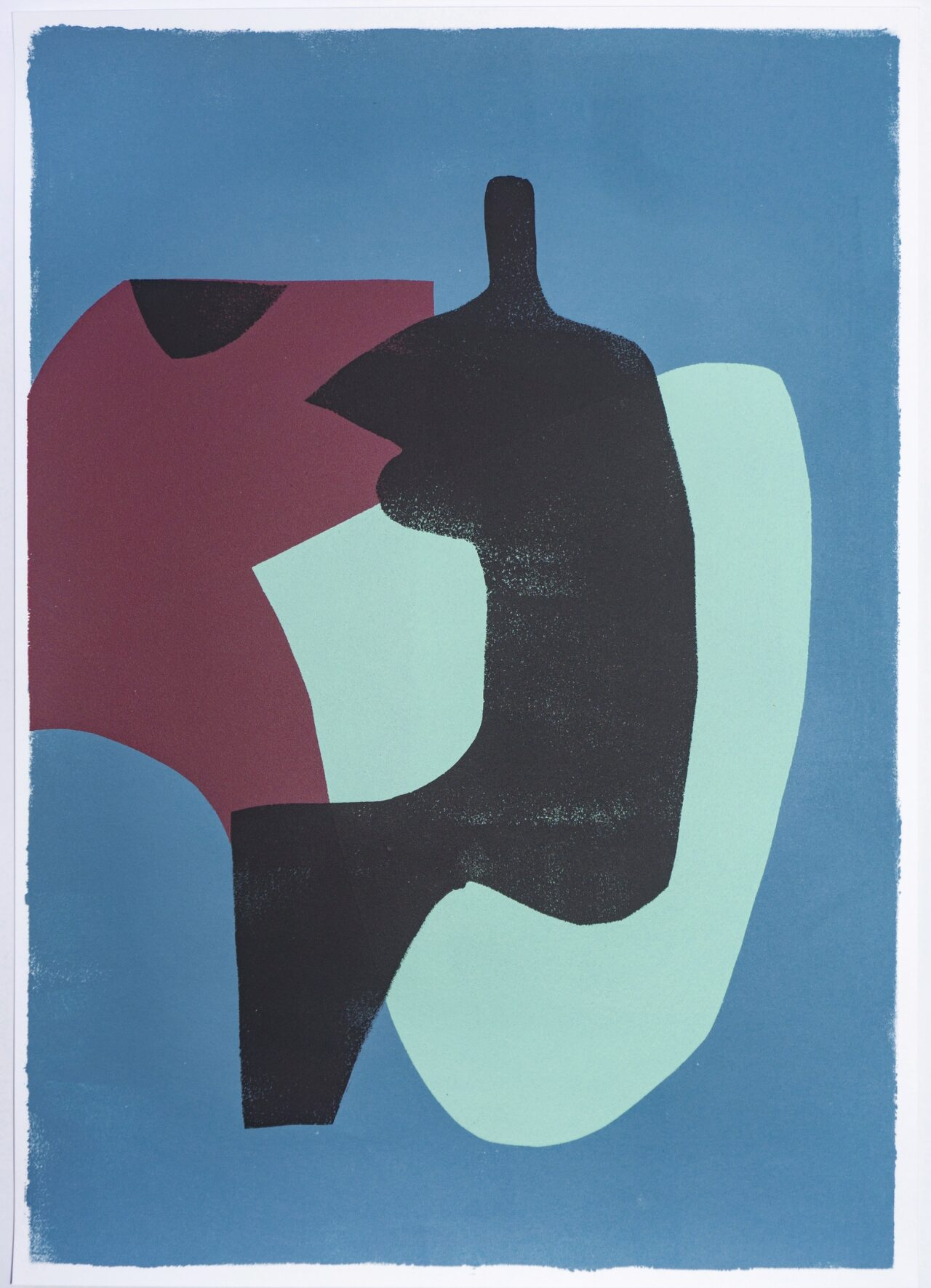Александр Бирук. Фигура 3. 2020. Бумага, акрил, техника ручной трафаретной печати. 30 х 42 см.