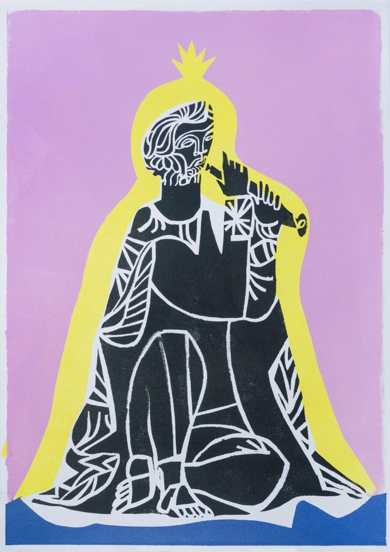 Александр Бирук. Флейтист в плаще. 2020. Бумага, акрил, техника ручной трафаретной печати. 30 х 42 см.