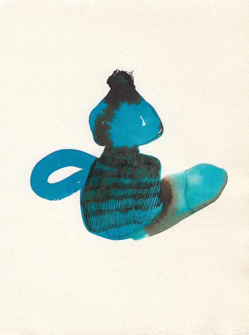 Андрей Петров. Гиацинт. 25 апреля 2020. Бумага, акварель, синяя тушь. 22 x 16 см.