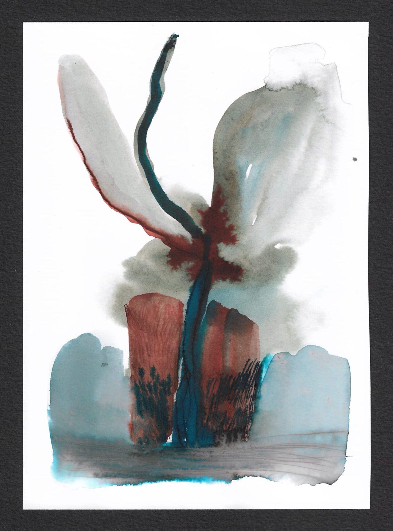 Андрей Петров. Орхидея. 15 июля 2020. Бумага, акварель. 23 х 16,5 см.